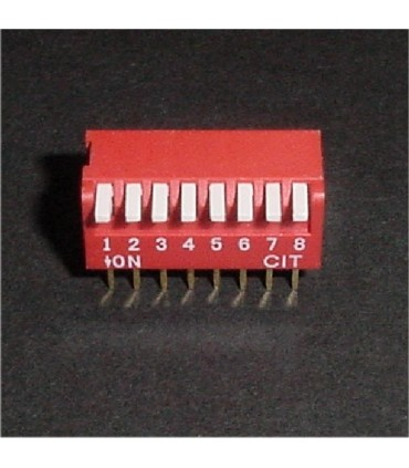 DIP Switch, 8 Position. Piano style